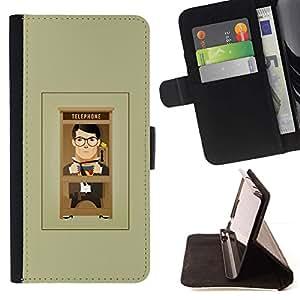 For HTC One A9 Case , Cartoon hombre gris minimalista- la tarjeta de Crédito Slots PU Funda de cuero Monedero caso cubierta de piel