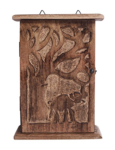 Handmade Wooden Key Holder Cabinet Storage Box with Elephant and Tree Designs by The StoreKing