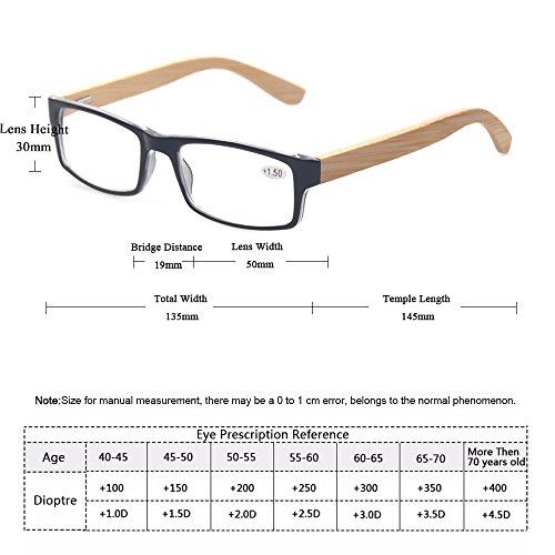 d29b0fa13ba1 Amazon.com  Kerecsen Bamboo Temple Reading Glasses Rectangular Glasses  Include Sunglasses Readers (3 Mix Color