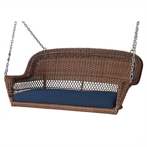 Jeco Honey Wicker Porch Swing with Blue Cushion