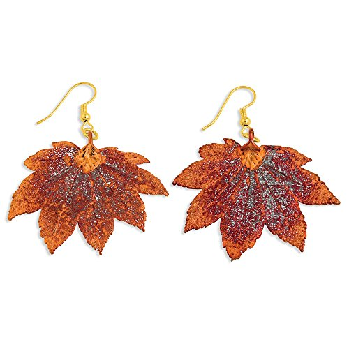 Iridescent Copper Dipped Full Moon Maple Leaf Drop Dangle Chandelier Earrings Fashion Jewelry Gifts For Women For Her