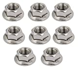 uxcell8pcs M10 x 1.25mm Pitch Metric Fine Thread 304 Stainless Steel Hex Flange Nut