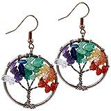SUNYIK Mixed Stone Tree of Life Dangle Earrings for Women(Copper Plated)