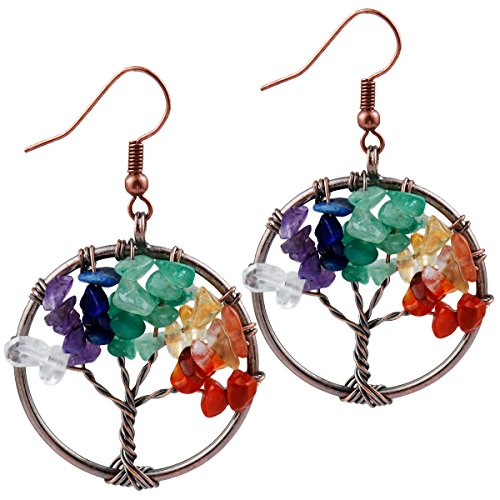 SUNYIK Mixed Stone Tree of Life Dangle Earrings for Women(Copper Plated) ()