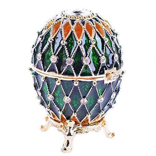mossty Faberge Style Egg Jewelry Box Ring Holder Trinket Organizer Earrings Storage Case Gift for Birthday Christmas Wedding