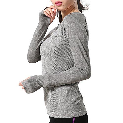 H-Motion Women's Super Soft Seamless Sport Gym Run Yoga Long Sleeve Sports Athletic Top T-Shirt (Medium, grey)
