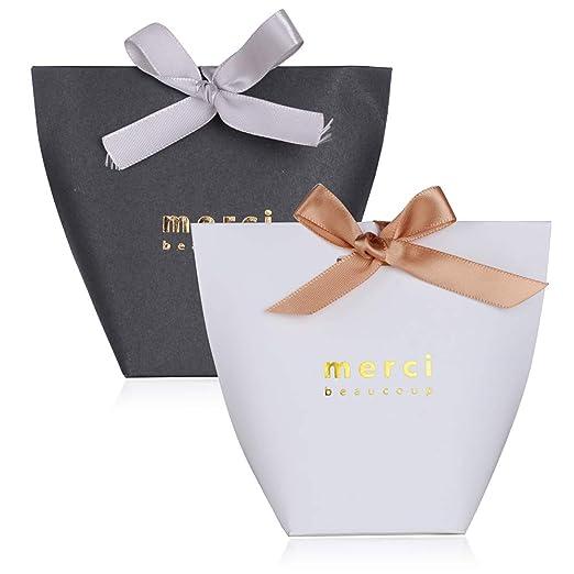 50pcs Cajas de Caramelos Regalo Dulces Bombomnes Galletas Merci para Boda Bautizo Fiesta Navidad Cumpleaños con Cinta (Blanco y Negro)