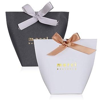 50pcs Cajas de Caramelos Regalo Dulces Bombomnes Galletas Merci para Boda Bautizo Fiesta Navidad Cumpleaños con Cinta (Blanco y Negro): Amazon.es: Hogar