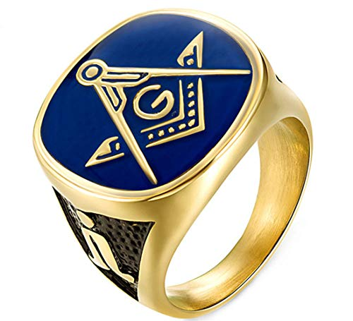 Masonic Enamel Blue Ring - Men's Punk Mason Masonic AG Blue Enamel Rings in Stainless Steel,Size 13