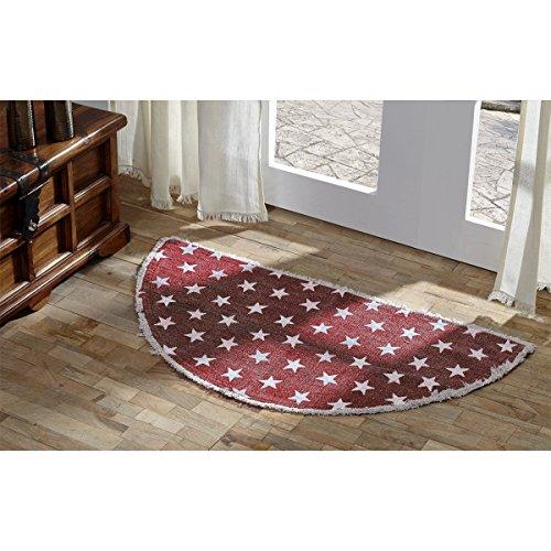 VHC Brands 16054 Classic Country Americana Flooring - Multi Star Half Circle Cotton Rug, 16.5