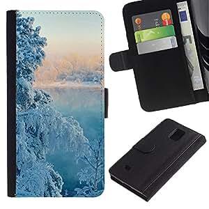 Billetera de Cuero Caso Titular de la tarjeta Carcasa Funda para Samsung Galaxy Note 4 SM-N910 / Nature Winter Snow Tree / STRONG