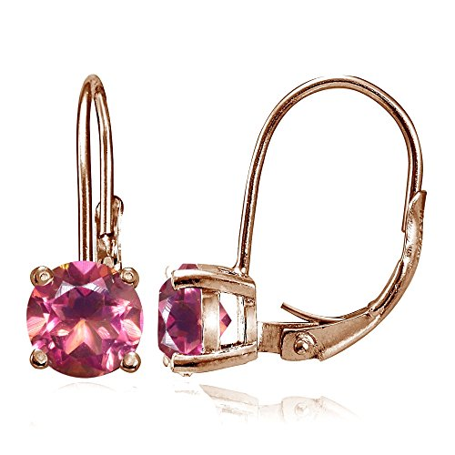 Rose Gold Flashed Sterling Silver Treated Pink Topaz 6mm Round Leverback Earrings