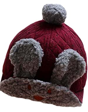 Cute Burgundy Lei Feng Cap Baby Girls Boys Caps Winter Warm Headwrap accessories Hair Ball Decor Knit Hat For...