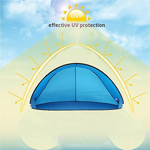 Camp Solutions Lightweight Automatic Pop Up Instant Portable Outdoors Beach Tent Sun Shelter Cabana with Carry Bag