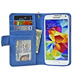 Navor Samsung Galaxy S5 / SV Book Style Folio Wallet PU Leather Case with Four Card Pockets and Money Slot (Hot Blue)