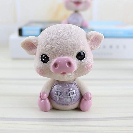 3 Pieces Shaking Head Doll Nodding Lucky Pig Figure Toys Car Auto Home Decor