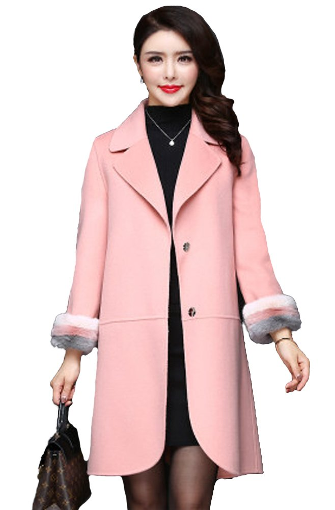 Queeenshiny Women's Long Wool Coat with Mink Fur Sleeve Pink M(8-10) by Queenshiny