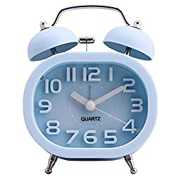 Twin Bell 3 Alarm Clock, COOJA Quartz Analog Sweep Battery Clocks Non Ticking Silent with Nightlight and Loud Alarm, Blue