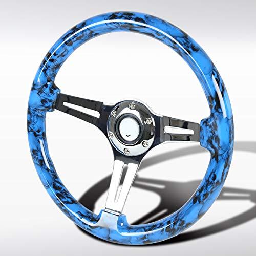 Autozensation 350mm Wooden Blue Fire Skull Style 3 Spoke 6 Bolt Racing Steering Wheel 2