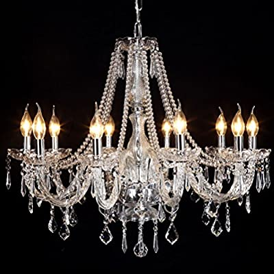 Contemporary Elegant Crystal Chandelier 10 Lights Candle Chandelier Lighting LED Pendant Lamp Ceiling Fixture for Bedroom Living Dining Room Hallway Entry 31.5 Inch X 47.2 Inch - 【Chandelier Ceiling Light】Ceiling Pendant Lighting Size: 31.5 Inch X 47.2 Inch, Elegant Crystal Candle Chandelier Decoration And Light Up your House. 【10 Lights Candle Chandelier】Bulb Type: E12*10, Max 40W watts(Bulbs Not included), Pendant ceiling light compatible with different E12 bulbs:LED bulbs, energy saving bulbs, halogen bulbs, dimmable bulbs and etc. 【Packaged Very Securely】 Ceiling Pendant Lamp is Easy to install, Well worth ! Sparkling Crystal Chandelier is bigger than we thought and it shines! IT LOOKS BEAUTIFUL AND GIVES THE ROOM AMAZING. - kitchen-dining-room-decor, kitchen-dining-room, chandeliers-lighting - 51RyXW7YFyL. SS400  -