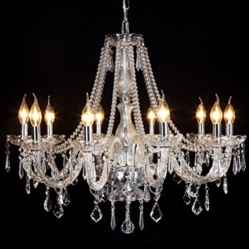 Fixture Contemporary (Ella Fashion® LED Elegant Rain Drop Crystal Candle Chandelier Lighting Contemporary Ceiling Fixture Pendant Lamp Bling 10 Lights for Bedroom Living Dining Room Hallway Entry 31.5 Inch X 47.2 Inch)