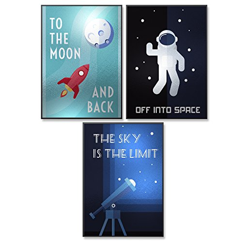 Pillow & Toast One a kind limited edition SILVER RETRO SPACE Kids posters. Printed on Silver Foil wall hangings toddler children all ages. Room Decor Boys wall art science teachers. by Pillow & Toast
