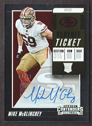 2018 Panini Contenders Football Playoff Ticket #329 Mike McGlinchey Auto 03/99 San Francisco 49ers