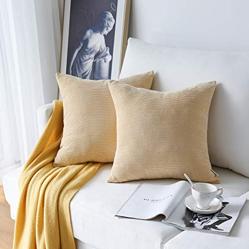 NATUS WEAVER 2 Pc Decor Supersoft Waffle Textured Velvet Corduroy Decorative Throw Toss Pillowcase Cushion Cover for Chair, Cream Chesse, 20 inch