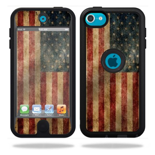 MightySkins Protective Vinyl Skin Decal Cover for OtterBox Defender Apple iPod Touch 5G 5th Generation Case Vintage Flag