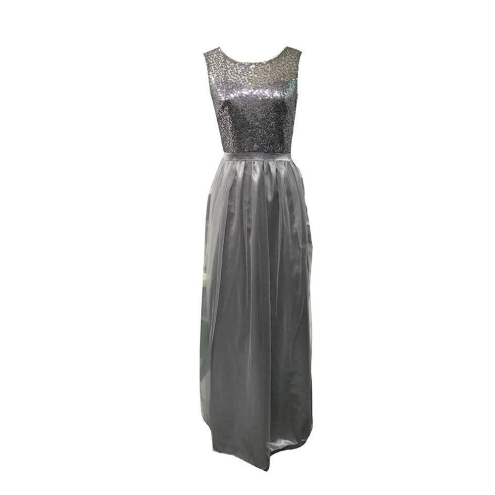 Nmch Women's Wedding Bridesmaid Long Dress Chiffon Mesh Sleeveless Tank Dress Evening Party Ball Prom Maxi Dress(Gray,M)