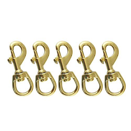 Brass Swivel Eye Snap - Proteus Heavy Duty Solid Brass Swivel Bolt Snap Hook Clip Buckle Dog Chain Leather Craft Scuba Diving Snorkeling Equipment, Pack of 5 (O.L.87mm)