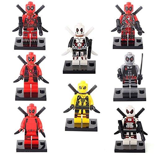 JSM Deadpool Spider-Man Super Hero 8 Minifigures Building bricks Toys Xmas gift