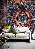 Tanya Handicrafts King size ethnic mandala tapestry Bedding sheet Multi Color Indian Mandala Wall Art Hippie Wall Hanging Bohemian Bedspread (Dark Blue & Light Blue, King (270 x 270 centimeters))