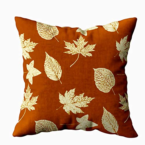 Capsceoll Autumn Leaves Rust Brown and Cream Decorative Throw Pillow Case 18X18Inch,Home Decoration Pillowcase Zippered Pillow Covers Cushion Cover with Words for Book Lover Worm Sofa Couch