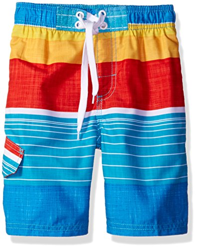 Kanu Surf Little Boys' Viper Stripe Swim Trunk, Aqua, Large (7)