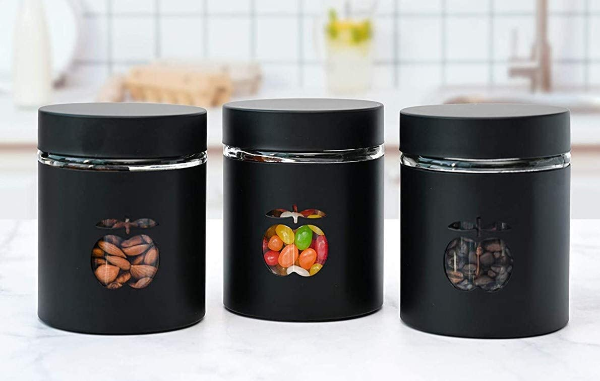 Canister Sets for Kitchen Counter - Matte Black Kitchen Decor and Accessories - Glass Canisters Sets for the Kitchen - Sugar Containers for Countertop - Tea Canister Set of 3 -Apple Window Design
