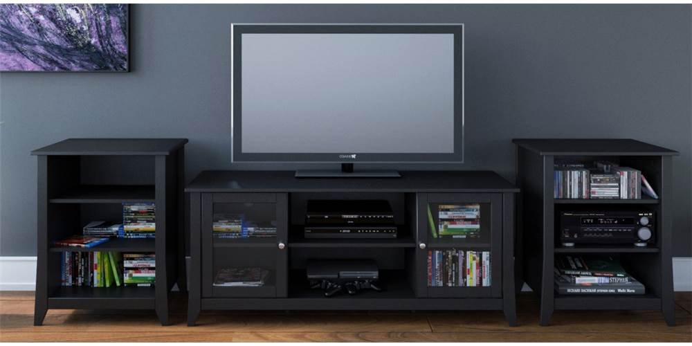 Amazon Com Eco Friendly Modern Tv Stand With 2 Audio Towers Home