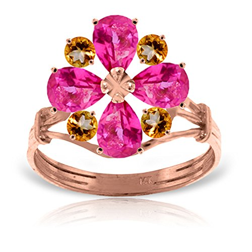 (2.43 Carat 14k Solid Rose Gold Natural Pink Topaz and Natural Citrine Flower Ring - Size 7)