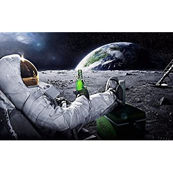 NewBrightBase Astronauts on The Moon Fabric Cloth Rolled Wall Poster Print - Size: (40