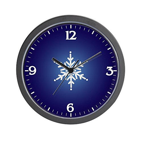 Wall Clock Snowflake on Dark Blue