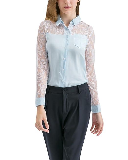 Mujer Camisetas Encaje Manga Larga Ocasionales de Encaje Blusas Camisa: Amazon.es: Ropa y accesorios
