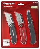 Husky 98383 3 Piece Utility Knife Set (1 Fixed Blade Knife,...