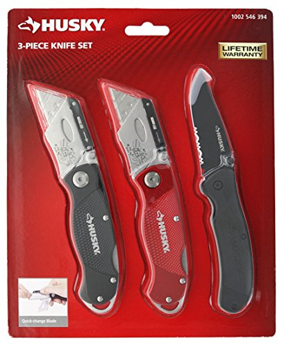 Husky 98383 3 Piece Utility Knife Set (1 Fixed Blade Knife, 2 Replaceable Blade Knives, 10 Replacement Blades)