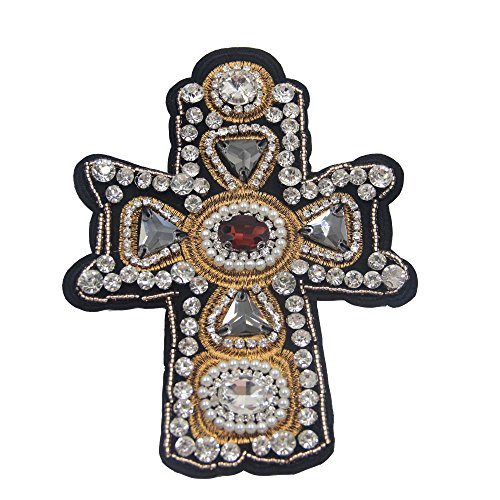 (Nail Bead Sequins Rhinestones Cross Patch 1PC Stick Applique Patch Embroidery Clothing Decoration Patches 4.7'' X 6.3'' (Ruby))