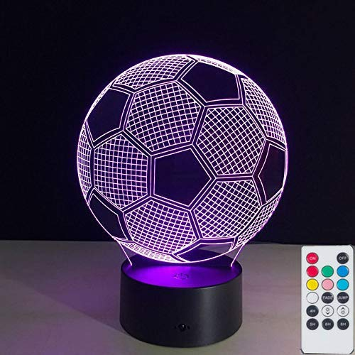 Soccer Ball 3D Lamps Nightlight for Kids, Remote 7 Colors Touch Switch Table Desk Lamps Sports Theme Holiday Xmas Birthday Toys Gifts for Football Lovers.
