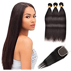 Brazilian Straight Hair 3 Bundles With a Free Part Lace Closure 100% Unprocessed Human Hair Bundles Natural Color by ZING SILKY (12 14 16+10 inch closure)