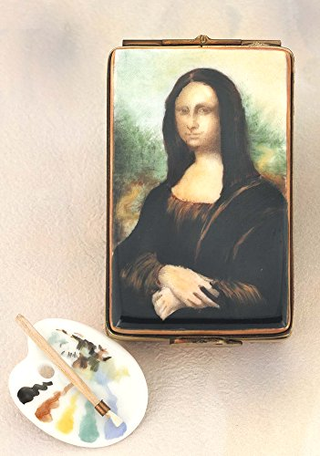 Authentic French Hand Painted Limoges Porcelain Mona Lisa Painting Box with Painter's Palette and Brush Antique Limoges Box