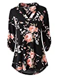 Zattcas Womens Floral Printed Tunic Shirts 3/4 Roll Sleeve Notch Neck Tunic Top (X-Large, Black)