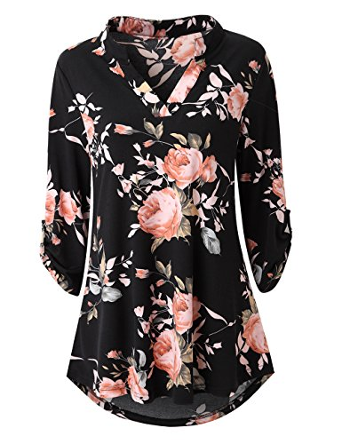 Zattcas Womens Floral Printed Tunic Shirts 3/4 Roll Sleeve Notch Neck Tunic Top (Large, Black) ()
