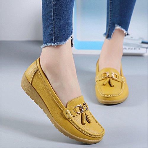 de Casual Mocasines Zapatos Bridfa Zapatos Mujer mujer Primavera Footware Señoras de Zapatos cuero Otoño negro Amarillo genuino Mocasines de cuero nXgWqqOxdB
